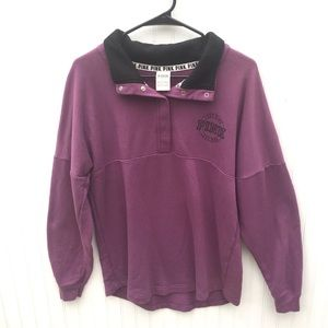 VS Pink Varsity Style Quarter Button up Pullover